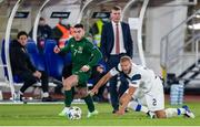 14 October 2020; Aaron Connolly of Republic of Ireland in action against Paulus Arajuuri of Finland during the UEFA Nations League B match between Finland and Republic of Ireland at Helsingin Olympiastadion in Helsinki, Finland. Photo by Mauri Forsblom/Sportsfile