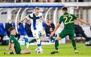 14 October 2020; Fredrik Jenson, right, of Finland in action against Dara O'Shea, left, and Jayson Molumby of Republic of Ireland during the UEFA Nations League B match between Finland and Republic of Ireland at Helsingin Olympiastadion in Helsinki, Finland. Photo by Mauri Forsblom/Sportsfile