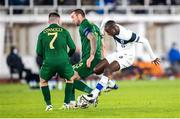14 October 2020; Glen Kamara of Finland in action against Shane Duffy, centre, and Aaron Connolly of Republic of Ireland during the UEFA Nations League B match between Finland and Republic of Ireland at Helsingin Olympiastadion in Helsinki, Finland. Photo by Mauri Forsblom/Sportsfile