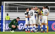 14 October 2020; Finland players celebrate their victory following the UEFA Nations League B match between Finland and Republic of Ireland at Helsingin Olympiastadion in Helsinki, Finland. Photo by Jussi Eskola/Sportsfile