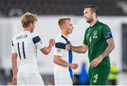 14 October 2020; Shane Duffy of Republic of Ireland and Rasmus Schuller of Finland following the UEFA Nations League B match between Finland and Republic of Ireland at Helsingin Olympiastadion in Helsinki, Finland. Photo by Jussi Eskola/Sportsfile Photo by Mauri Forsblom/Sportsfile