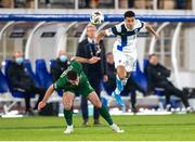 14 October 2020; Enda Stevens of Republic of Ireland and Pyry Soiri of Finland during the UEFA Nations League B match between Finland and Republic of Ireland at Helsingin Olympiastadion in Helsinki, Finland. Photo by Mauri Forsblom/Sportsfile