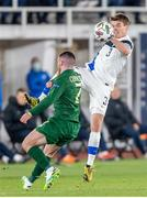 14 October 2020; Albin Granlund of Finland and Aaron Connolly of Republic of Ireland during the UEFA Nations League B match between Finland and Republic of Ireland at Helsingin Olympiastadion in Helsinki, Finland. Photo by Mauri Forsblom/Sportsfile