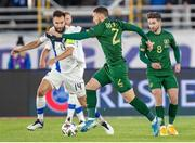 14 October 2020; Tim Sparv of Finland and Matt Doherty of Republic of Ireland during the UEFA Nations League B match between Finland and Republic of Ireland at Helsingin Olympiastadion in Helsinki, Finland. Photo by Mauri Forsblom/Sportsfile
