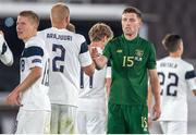 14 October 2020; Dara O'Shea of Republic of Ireland with Paulus Arajuuri, 2, of Finland following the UEFA Nations League B match between Finland and Republic of Ireland at Helsingin Olympiastadion in Helsinki, Finland. Photo by Mauri Forsblom/Sportsfile