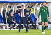 14 October 2020; Republic of Ireland manager Stephen Kenny reacts during the UEFA Nations League B match between Finland and Republic of Ireland at Helsingin Olympiastadion in Helsinki, Finland. Photo by Mauri Forsblom/Sportsfile