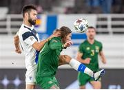 14 October 2020; Tim Sparv of Finland and Jeff Hendrick of Republic of Ireland during the UEFA Nations League B match between Finland and Republic of Ireland at Helsingin Olympiastadion in Helsinki, Finland. Photo by Mauri Forsblom/Sportsfile