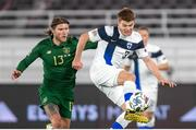 14 October 2020; Albin Granlund of Finland and Jeff Hendrick of Republic of Ireland during the UEFA Nations League B match between Finland and Republic of Ireland at Helsingin Olympiastadion in Helsinki, Finland. Photo by Mauri Forsblom/Sportsfile