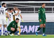 14 October 2020; Aaron Connolly, left, and Adam Idah of Republic of Ireland following the UEFA Nations League B match between Finland and Republic of Ireland at Helsingin Olympiastadion in Helsinki, Finland. Photo by Jussi Eskola/Sportsfile