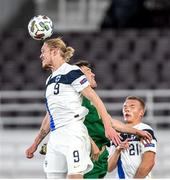 14 October 2020; Fredrik Jensen of Finland in action against Dara O'Shea of Republic of Ireland during the UEFA Nations League B match between Finland and Republic of Ireland at Helsingin Olympiastadion in Helsinki, Finland. Photo by Mauri Fordblom/Sportsfile