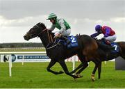 15 October 2020; Pretty Rebel, left, with Shane Foley up, on their way to winning the Equilux Works Or Your Money Back Handicap DIV I at The Curragh Racecourse in Kildare. Photo by Seb Daly/Sportsfile