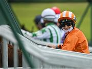 15 October 2020; Jockey Colin Keane and mount Thefaithfulindian in the stalls prior to the start of the Try Equilux Risk Free Handicap at The Curragh Racecourse in Kildare. Photo by Seb Daly/Sportsfile