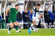 14 October 2020; Pyry Soiri of Finland in action against Enda Stevens of Republic of Ireland during the UEFA Nations League B match between Finland and Republic of Ireland at Helsingin Olympiastadion in Helsinki, Finland. Photo by Mauri Fordblom/Sportsfile
