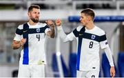 14 October 2020; Joona Toivio, left, and Robert Taylor of Finland celebrate following the UEFA Nations League B match between Finland and Republic of Ireland at Helsingin Olympiastadion in Helsinki, Finland. Photo by Mauri Fordblom/Sportsfile