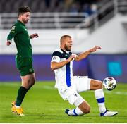 14 October 2020; Paulus Arajuuri of Finland in action against Sean Maguire of Republic of Ireland during the UEFA Nations League B match between Finland and Republic of Ireland at Helsingin Olympiastadion in Helsinki, Finland. Photo by Mauri Fordblom/Sportsfile