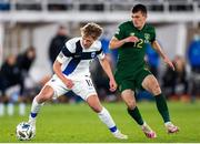 14 October 2020; Rasmus Schuller of Finland in action against Jason Knight of Republic of Ireland during the UEFA Nations League B match between Finland and Republic of Ireland at Helsingin Olympiastadion in Helsinki, Finland. Photo by Mauri Fordblom/Sportsfile