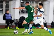 14 October 2020; Enda Stevens of Republic of Ireland and Pyry Soiri of Finland during the UEFA Nations League B match between Finland and Republic of Ireland at Helsingin Olympiastadion in Helsinki, Finland. Photo by Mauri Fordblom/Sportsfile
