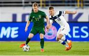 14 October 2020; Daryl Horgan of Republic of Ireland and Jere Uronen of Finland during the UEFA Nations League B match between Finland and Republic of Ireland at Helsingin Olympiastadion in Helsinki, Finland. Photo by Mauri Fordblom/Sportsfile
