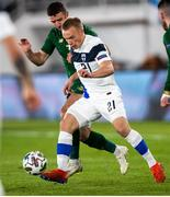 14 October 2020; Ilmari Niskanen of Finland and Enda Stevens of Republic of Ireland during the UEFA Nations League B match between Finland and Republic of Ireland at Helsingin Olympiastadion in Helsinki, Finland. Photo by Mauri Fordblom/Sportsfile