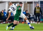 14 October 2020; Aaron Connolly of Republic of Ireland and Paulus Arajuuri of Finland during the UEFA Nations League B match between Finland and Republic of Ireland at Helsingin Olympiastadion in Helsinki, Finland. Photo by Mauri Fordblom/Sportsfile