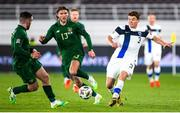 14 October 2020; Albin Granlund of Finland and Aaron Connolly, left, and Jeff Hendrick of Republic of Ireland during the UEFA Nations League B match between Finland and Republic of Ireland at Helsingin Olympiastadion in Helsinki, Finland. Photo by Mauri Fordblom/Sportsfile