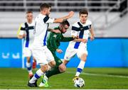 14 October 2020; Aaron Connolly of Republic of Ireland and Joona Toivio, left, and Albin Granlund of Finland during the UEFA Nations League B match between Finland and Republic of Ireland at Helsingin Olympiastadion in Helsinki, Finland. Photo by Mauri Fordblom/Sportsfile