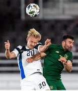 14 October 2020; PJoel Pohjanpalo of Finland and Enda Stevens of Republic of Ireland during the UEFA Nations League B match between Finland and Republic of Ireland at Helsingin Olympiastadion in Helsinki, Finland. Photo by Mauri Fordblom/Sportsfile