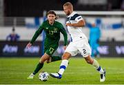 14 October 2020; Jeff Hendrick of Republic of Ireland and Paulus Arajuuri of Finland during the UEFA Nations League B match between Finland and Republic of Ireland at Helsingin Olympiastadion in Helsinki, Finland. Photo by Mauri Fordblom/Sportsfile