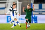 14 October 2020; Ilmari Niskanen of Finland and Daryl Horgan of Republic of Ireland during the UEFA Nations League B match between Finland and Republic of Ireland at Helsingin Olympiastadion in Helsinki, Finland. Photo by Mauri Fordblom/Sportsfile