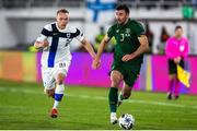 14 October 2020; Enda Stevens of Republic of Ireland and Ilmari Niskanen of Finland during the UEFA Nations League B match between Finland and Republic of Ireland at Helsingin Olympiastadion in Helsinki, Finland. Photo by Mauri Fordblom/Sportsfile
