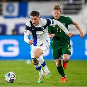 14 October 2020; Robert Taylor of Finland and Daryl Horgan of Republic of Ireland during the UEFA Nations League B match between Finland and Republic of Ireland at Helsingin Olympiastadion in Helsinki, Finland. Photo by Mauri Fordblom/Sportsfile