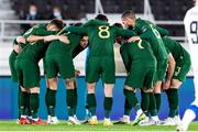 14 October 2020; Republic of Ireland captain Shane Duffy speaks in the team huddle ahead of the UEFA Nations League B match between Finland and Republic of Ireland at Helsingin Olympiastadion in Helsinki, Finland. Photo by Jussi Eskola/Sportsfile