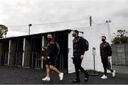 16 October 2020; Bohemians players, from left, Keith Ward, Stephen McGuinness and Conor Levingston arrive prior to the SSE Airtricity League Premier Division match between Dundalk and Bohemians at Oriel Park in Dundalk, Louth. Photo by Harry Murphy/Sportsfile