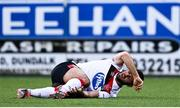 16 October 2020; Patrick Hoban of Dundalk goes down injured during the SSE Airtricity League Premier Division match between Dundalk and Bohemians at Oriel Park in Dundalk, Louth. Photo by Harry Murphy/Sportsfile