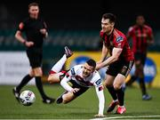 16 October 2020; Michael Duffy of Dundalk is tackled by Michael Barker of Bohemians during the SSE Airtricity League Premier Division match between Dundalk and Bohemians at Oriel Park in Dundalk, Louth. Photo by Harry Murphy/Sportsfile