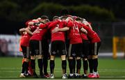 16 October 2020; Bohemians players huddle prior to the SSE Airtricity League Premier Division match between Dundalk and Bohemians at Oriel Park in Dundalk, Louth. Photo by Harry Murphy/Sportsfile