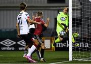 16 October 2020; Keith Ward of Bohemians has a shot on goal saved by Gary Rogers of Dundalk during the SSE Airtricity League Premier Division match between Dundalk and Bohemians at Oriel Park in Dundalk, Louth. Photo by Harry Murphy/Sportsfile