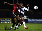 16 October 2020; Promise Omochere of Bohemians in action against Nathan Oduwa of Dundalk during the SSE Airtricity League Premier Division match between Dundalk and Bohemians at Oriel Park in Dundalk, Louth. Photo by Harry Murphy/Sportsfile