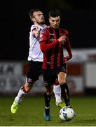 16 October 2020; Danny Mandroiu of Bohemians in action against Cameron Dummigan of Dundalk during the SSE Airtricity League Premier Division match between Dundalk and Bohemians at Oriel Park in Dundalk, Louth. Photo by Harry Murphy/Sportsfile