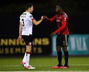 16 October 2020; Brian Gartland of Dundalk and Andre Wright of Bohemians fist bump following the SSE Airtricity League Premier Division match between Dundalk and Bohemians at Oriel Park in Dundalk, Louth. Photo by Harry Murphy/Sportsfile