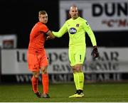 16 October 2020; James Talbot of Bohemians and Gary Rogers of Dundalk following the SSE Airtricity League Premier Division match between Dundalk and Bohemians at Oriel Park in Dundalk, Louth. Photo by Harry Murphy/Sportsfile