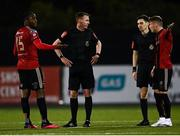 16 October 2020; Bohemians players Andre Wright and Danny Grant protest to referee Damien MacGraith at the full-time whistle following the SSE Airtricity League Premier Division match between Dundalk and Bohemians at Oriel Park in Dundalk, Louth. Photo by Harry Murphy/Sportsfile