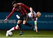 16 October 2020; Danny Mandroiu of Bohemians is fouled by Chris Shields of Dundalk during the SSE Airtricity League Premier Division match between Dundalk and Bohemians at Oriel Park in Dundalk, Louth. Photo by Harry Murphy/Sportsfile