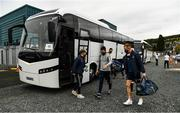 17 October 2020; The Antrim players and officials arrive in two buses for the Allianz Football League Division 4 Round 6 match between Wicklow and Antrim at the County Grounds in Aughrim, Wicklow. Photo by Ray McManus/Sportsfile
