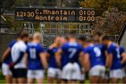 17 October 2020; A general view of the scoreboard as Wicklow players huddle before the Allianz Football League Division 4 Round 6 match between Wicklow and Antrim at the County Grounds in Aughrim, Wicklow. Photo by Ray McManus/Sportsfile