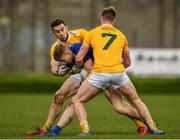 17 October 2020; Andy Maher of Wicklow in action against Peter Healy, 7, and Conor Murray of Antrim during the Allianz Football League Division 4 Round 6 match between Wicklow and Antrim at the County Grounds in Aughrim, Wicklow. Photo by Ray McManus/Sportsfile