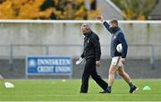 17 October 2020; Kerry manager Peter Keane speaks to Peter Crowley prior to the Allianz Football League Division 1 Round 6 match between Monaghan and Kerry at Grattan Park in Inniskeen, Monaghan. Photo by Brendan Moran/Sportsfile