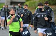 17 October 2020; Dara Moynihan, left, and Sean O'Shea of Kerry arrive wearing a facemask prior to the Allianz Football League Division 1 Round 6 match between Monaghan and Kerry at Grattan Park in Inniskeen, Monaghan. Photo by Brendan Moran/Sportsfile