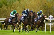 17 October 2020; Benaud, centre, with Shane Crosse up, on their way to winning the Leopardstown Nursery Handicap at Leopardstown Racecourse in Dublin. Photo by Seb Daly/Sportsfile