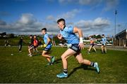 17 October 2020; Luke Swan of Dublin warms up prior to the EirGrid GAA Football All-Ireland U20 Championship Semi-Final match between Dublin and Tyrone at Kingspan Breffni Park in Cavan. Photo by David Fitzgerald/Sportsfile